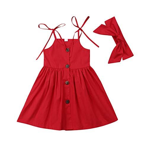 Vestido Vermelho Criança Menina Aberto de Alça e Botões Fret Tamanho:3 A 4 A;Cor:Vermelho