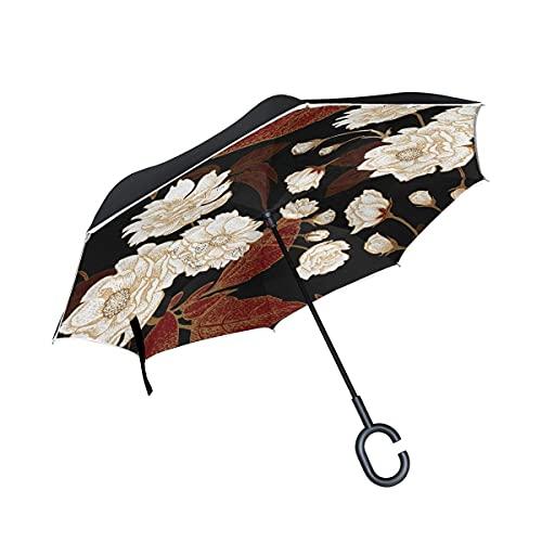 Paraguas plegables Flor De Arte Blanco Negro Paraguas Invertido Antiviento Protección contra Rayos UV Ligero Compacto Invertida Paraguas para Coche Viajes Playa Mujeres Niños Niñas