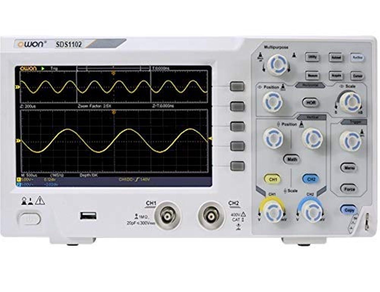 怒って振る舞い電話に出るOWON ハイコストパフォーマンスデジタルオシロスコープ 1Gs/s 100MHz帯域 薄型軽量 SDS1102