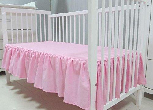 Babymajawelt® Bettvolant Betthuse Spannbetttuch Baumwolle Spannbettlaken für Babybett 70x140 oder 60x120cm (70x140, rosa)