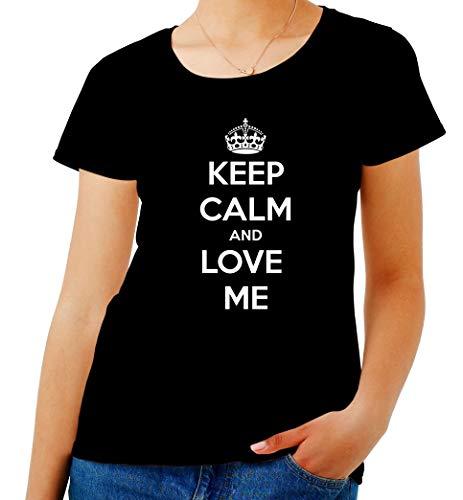 T-Shirt para Las Mujeres Negro TKC2167 Keep Calm and Love ME