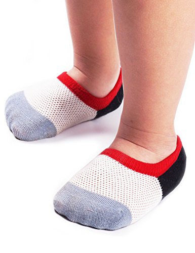 BabaMate 6 Pairs Baby Toddler Little Kids No Show Socks - Thin Mesh Cotton Athletic Socks for Boys Girls 3 Colors/6-pack M(4-6Year)/Shoe size 9-12 Little kids