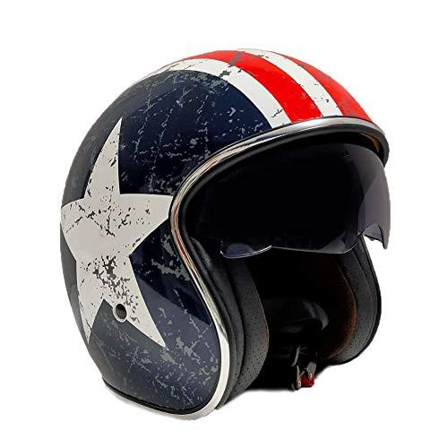 Gran Scooter Accesories CASCO MOTO JET (Con gafas Protectoras, homologado, forro agradable y extraíble) Talla L - STAR VINTAGE
