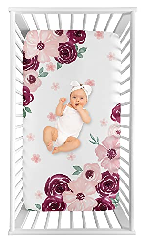 Sweet Jojo Designs Burgundy Watercolor Floral Girl Fitted Crib Sheet Baby or Toddler Bed Nursery Photo Op - Blush Pink, Maroon, Wine, Rose, Green and White Shabby Chic Flower Farmhouse