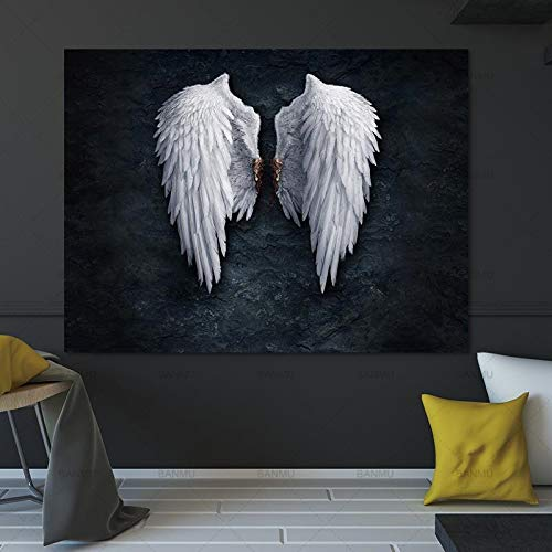 Nordic style white angel wings picture canvas fashion posters and prints living room decoration painting abstract wall art pictures 60X90 Frameless