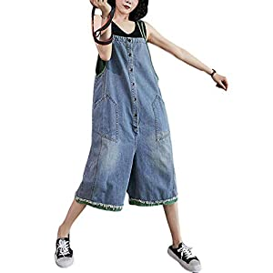 Women's Casual Denim Bib Overall Short Pants Loose Baggy Adjustable Strap Shorts