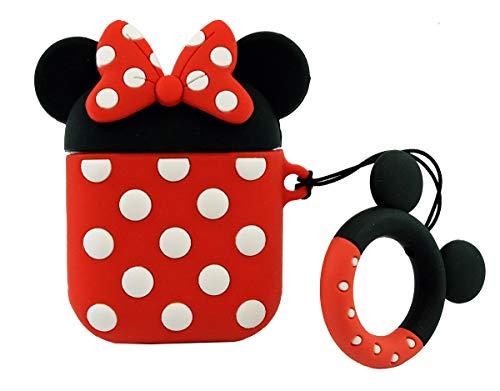 Cocomii 3D Disney AirPods Custodia, Sottile Opaco Morbido TPU Silicone Anello Portachiavi Personaggi Disney 3D Cartone Animato Case Bumper Cover Paraurti Compatible with Apple AirPods (Minnie)