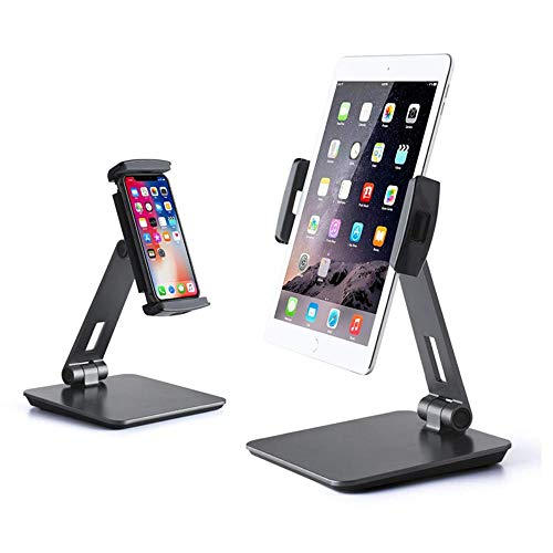 DJXM Tablet Stand 360-Degree Adjustable And Foldable, Aluminum Alloy Body Stand. Black