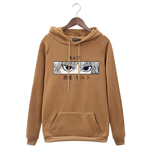 DONGYAO Women Hoodies Hunter X Hunter Women Pullovers Hoodies Sweatshirts Killua Zoldyck Devil Eye Print Anime Hoody Streetwear Tops (Color : Brown, Size : S)