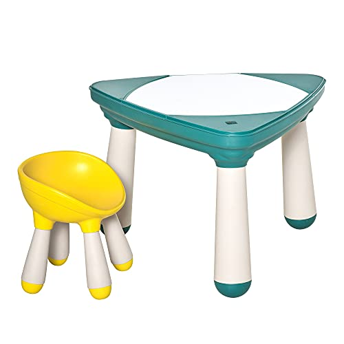 homcom Tavolino per Bambini con Sedia e Vani Contenitore, Gioco Educativo età 2-5 Anni, ABS e PP Atossici, Giallo e Verde