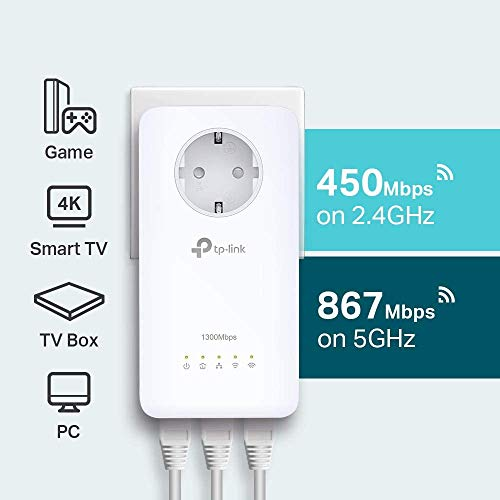 TP-Link TL-WPA8630P KIT AV1200 Adaptateur CPL Gigabit Wi-Fi AC1200 Wi-Fi (1200Mbps Wifi et CPL 1200Mbps, Clone Wifi, MU-MIMO, Contrôle des applications, 4 ports Gigabit, Plug & Play) Blanc