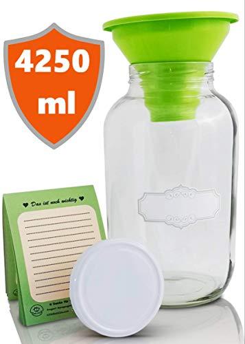SMIJOS 4L Einmachglas groß - ideales Fermentierglas Set für Kombucha o. Kefir - riesen Glasbehälter für Lebensmittel – Glas Vorratsdose mit Deckel