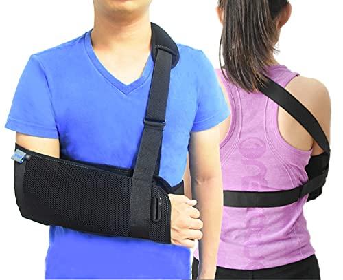TODDOBRA Medical Arm Shoulder Sling for Shoulder Injury with Back Belt Men & Women Shoulder Immobilizer Stabilizer, Lightweigh Arm Support Brace for Broken Fractured Arm --(Size M)
