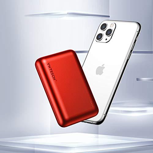 YWTESCH Batterie Externe 20000mAh, Chargeur Portable 10W, 2 Sortie USB et 1 Entrée de Type C, en Alliage d'aluminium, Mini Batterie Externe(Rouge) Compatible avec iPhone/iPad/Android