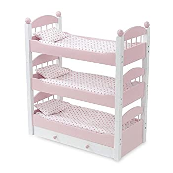 Emily Rose 18 Inch Doll Bunk Bed Doll Furniture | Doll 18 Triple Bunkbed Includes 3 Stackable Single 18 Doll Beds and 18 Inch Doll Clothes Storage Drawer | Fits 18  American Girl and My Life Dolls
