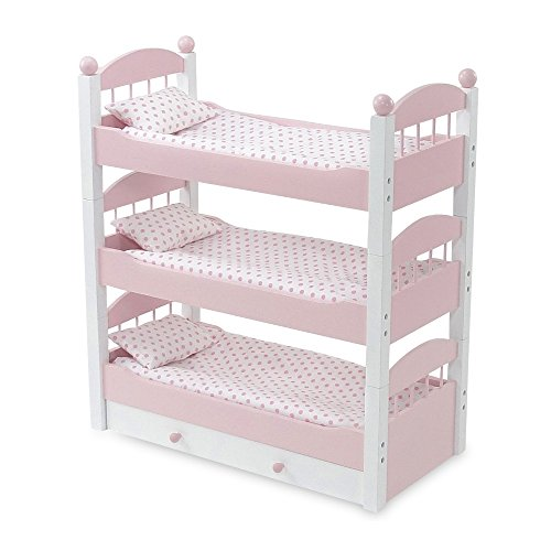 Emily Rose 18 Inch Doll Bunk Bed Doll Furniture | Doll 18 Triple Bunkbed, Includes 3 Stackable Single 18 Doll Beds and 18 Inch Doll Clothes Storage Drawer | Fits 18' American Girl and My Life Dolls