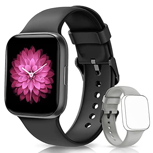 NAIXUES Smartwatch Herren Damen 1.54 Zoll Smart Watch IP68 Wasserdicht Fitness Tracker Uhr Fitnessuhr Armbanduhr mit Pulsmesser Schlafmonitor Aktivitätstracker Schrittzähler Stoppuhr für iOS Android