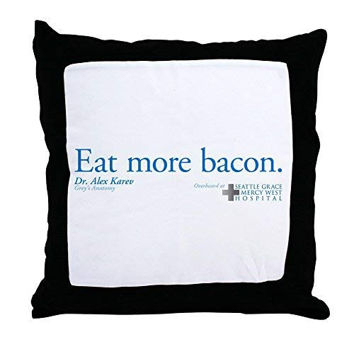 Pattebom Eat More Bacon Canvas Throw Pillow Covers 18 x 18 Home Decor Farmhouse Throw Pillows Case Cushion Covers Decorative for Gifts