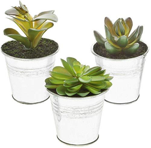 COM-FOUR® 3x kunstplanten [selectie varieert], bedrieglijk echte decoratieve planten met een pot van metaal, kunstplant voor huis, tuin, balkon en kantoor (03 stuks - maat S - metaal)