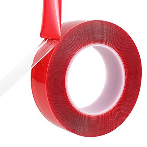 MeetRade Montage Tape Roll 1'' 25mm Helder Acryl Dubbelzijdig Zware Duty Super Sticky Hittebestendige Lijm Verwijderbaar Geen Residue Reparatie Hoge Sterkte Sticker voor Auto Mobiele Telefoon LCD Scherm