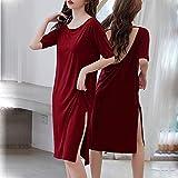 NSTD Camisa Sexy para Mujer Pijama de Encaje Vestido Suelto y cómodo para el hogar Suave Batas para niñas Vestido de Cuello Redondo Burgundy