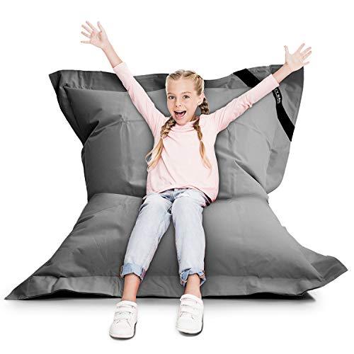 LAZY BAG Original Indoor & Outdoor Sitzsack XL 250 Liter Riesensitzsack Junior-Sitzkissen Sessel für Kinder & Erwachsene 160x120 (Grau)