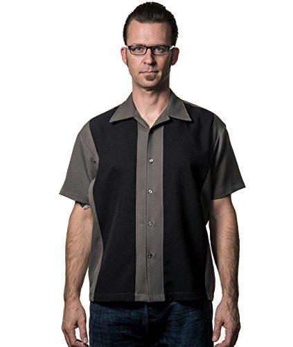 Steady Clothing Herren Vintage Bowling Hemd - Poplin Panel Retro Bowling Shirt Grau/Schwarz S
