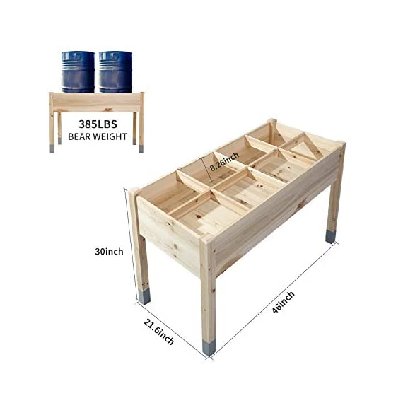 """MIXC Raised Garden Bed, Fir Wooden Planter Boxes for Outdoor Plants, Elevated Standing Planter with Waterproof Legs… 2 【Weather Treated Fir Wood】MIXC raised garden beds is made of untreated fir wood, which resists warping and splitting over time better than cedar. Overall Dimension: 46""""(L) X 21.6""""(W) X 30""""(H).The depth of the planter raised bed is 8.26 inches deep,that can be worked for tomato & carrots & any vegetable flower. 【Drainage Holes & Inner Liner】Four drainage holes are convenient to drain out excess water. Besides, we also provide a Waterproof PE rubber membrane(67""""*55"""") for you to DIY. The liner helps to keep soil and moisture from rotting the wood. 【Easy to Assemble But Sturdy】With complimentary installation guide, you can put this Planter Box together was less than 10 min without hammer and a screwdriver. The joints are dovetailed, which designed for better load-bearing structure. It has a load capacity of up to 385LBS that far heavier than other products."""