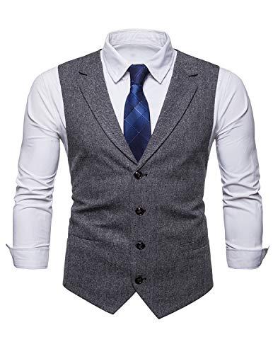 STTLZMC Chaleco Traje Hombre Sin Mangas Retro Tweed Vestir Banquete Ceremonia Casual V-Neck Blazers,Negro,Medium