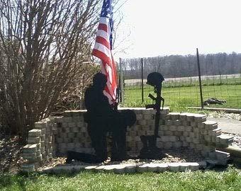 NOT BRANDED 2 Piece Soldier Silhouette, Fallen Soldier Memorial, Shadow Art Yard Display Decoration,Patriotic Ground Stakes, Military Veteran Yard Decor