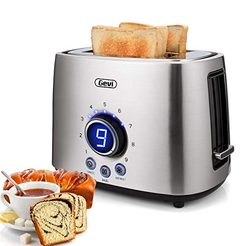 2 Slice Toaster LED Display,9 Shade Stainless Steel Toasters with...