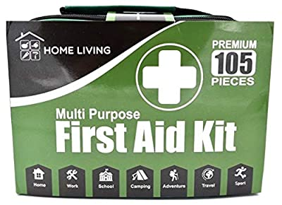 105 Piece First Aid Kit Medical Emergency Bag Pouch - Plasters Bandages 2 x Cold Packs Gloves Trauma Pads CPR Mask Scissors Tweezers - Home Car Work School Camping Travel Sport - Light Compact Durable by MACH Supplies
