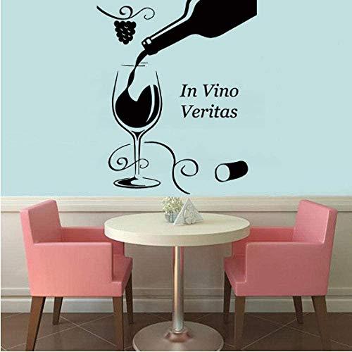 en Vino Veritas Botella de copa de vino Floral Grapevine Etiqueta de la pared Decoración del hogar Sala de estar Dormitorio Decoración Arte de la pared Murales 51Cmx43Cm