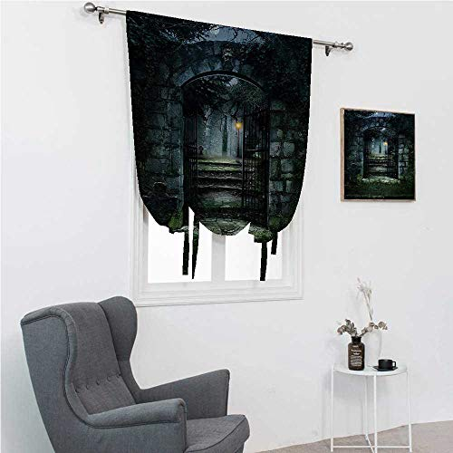 """Roman Shades for Windows Gothic Roman Blinds for Window Image of The Gate of a Dark Old Haunted House Cemetery Dead Myst Fiction Art Print 35"""" Wide by 64"""" Long Grey Green"""
