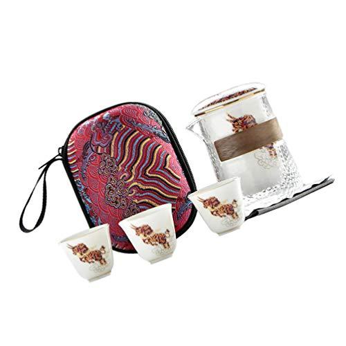 Garneck Tetera de Vidrio con Infusor de Cerámica 4 Piezas Tazas de Cerámica Tetera Segura Tetera para Té Floreciente de Hojas Sueltas