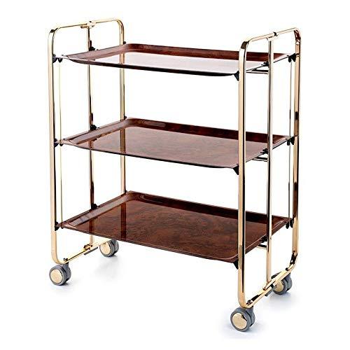 DON HIERRO - Carrito auxiliar con ruedas BAUHAUS, armazón con baño de oro, 3 bandejas.