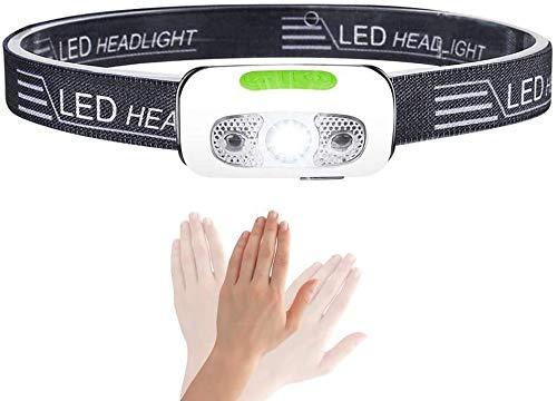 Karrong LED Stirnlampe Wiederaufladbar Wasserdicht Infrarotsensor fürs Outdoor Sport Joggen Laufen Angeln (Joggen stirnlampe)