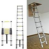 AutoBaBa 3.2M 10.5FT Aluminum Telescopic Ladder for Home Loft Attic Ladder, Portable Extension