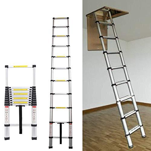 AutoBaBa 3.2M 10.5FT Aluminum Telescopic Ladder for Home Loft Attic Ladder,...
