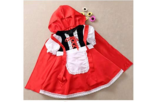Fashion SHOP Capucha Fantasia Disfraz de Halloween para nios Navidad Cosplay Carnival Dress Dress Princess Little Red Rid Riding Hood Cloak Child Kid Girls Largo Capa con Capucha