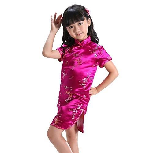 XFentech Cheongsam Vestido para Niña - Manga Corta Qi Pao Chino Tradicional Vestido Fiesta Verano Vestido, Rose Rojo, Tag 10(120cm Altura Recomendada