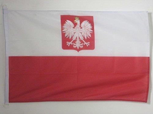 AZ FLAG Bandera Nautica de Polonia con Aguila 45x30cm - Pabellón de conveniencia POLACA con Armas 30 x 45 cm Anillos
