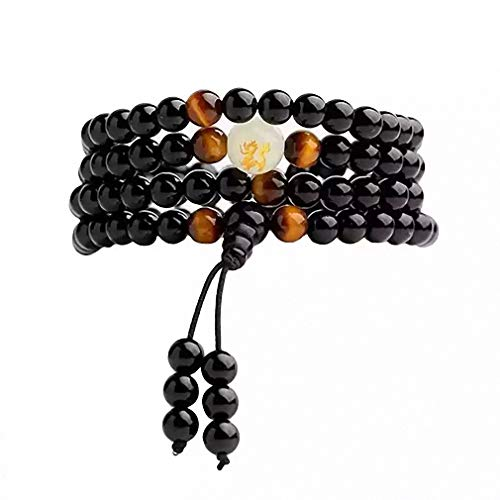 Bead Bracelets for Men and Women, Natural Obsidian Carving Dragon Bracelets Tiger Eye Mens Bracelet Gifts Buddha Rosary Stone Beads Necklace Glow in Dark Adjustable