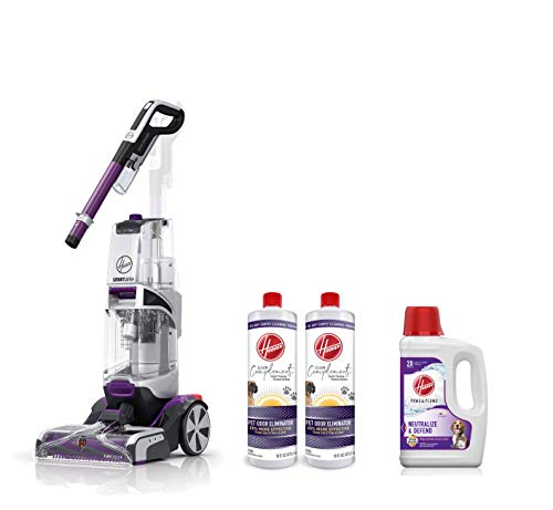 Hoover FH53000PC SmartWash Pet Automatic Carpet Cleaner Machine, Purple & AH30925 Paws & Claws Deep Cleaning Shampoo, 64oz, White & Odor Eliminator Carpet Cleaning Booster, 16 oz, Pack of 2, White