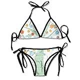 Bikini Trajes de baño Búhos románticos Enamorados y árbol Grande con Flores de Colores Ramo de Aves Conjuntos de Bikini Traje de baño de Playa Traje de baño