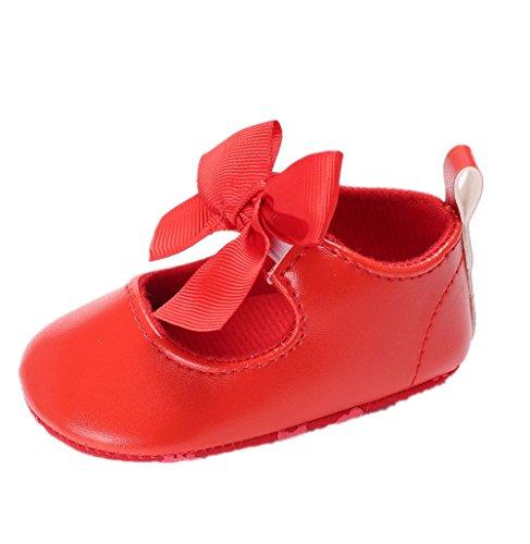 Zapatos para bebé Auxma Zapatos de Cuero de la PU del Bowknot de la niña Zapatos Antideslizantes para niños pequeños Zapatilla para 3-6 6-12 12-18 Mes