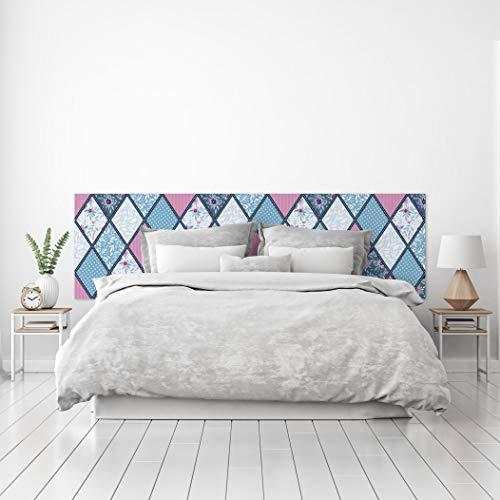 MEGADECOR Cabecero Cama PVC Decorativo Económico Diseño Rombos Estampados Azul Celeste y Rosa Varias Medidas (200 cm x 60 cm)