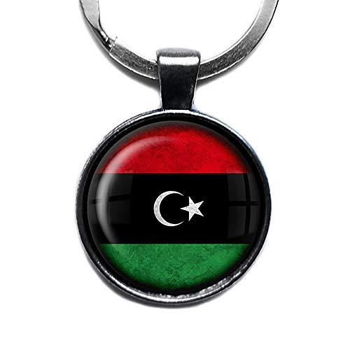Libya Libyan Flag Libysche Libysche Flagge Keychain Silber Schlüsselanhänger