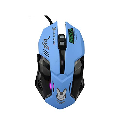 Lovely Wired USB Computer Mouse with Backlit,3200 DPI,for MacBook,Computer PC,Laptop (D.VA) -Blue
