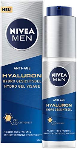 Nivea Men Anti-Age Hyaluron Hydro Gesichtsgel (50 ml), Feuchtigkeitsgel mildert selbst tiefe Falten, schnell einziehende Gesichtspflege mit Hyaluron